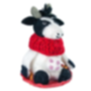 Fair Trade Fusion Besse the Cow Fair Trade Felted Wool Christmas Ornament.