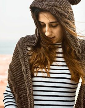 "Azerbaijani Socks Women's Scarf Hoodie ""Scoodie"", ethically hand knit by women in Azerbaijan."