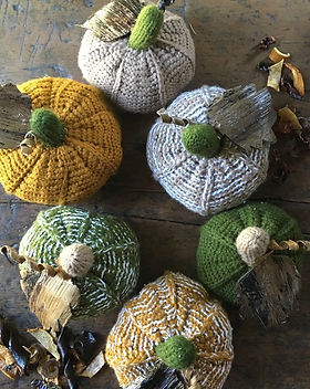Grain of Rice Project Pumpkins. Hand knitted in Kenya. Fall Decor. https://grain-of-rice.myshopify.com/collections/fall/products/pumpkins-set-of-3
