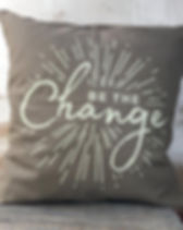 "Papillon ""Be the Change"" pillow cover. Fair trade and made in Haiti. https://papillonmarketplace.com/collections/pillow-covers"
