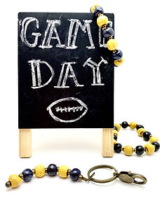 Papillon Game Day Keychains and Bracelets: Choose Your Favorite Sports Team Color.