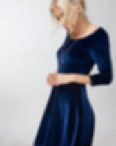 Elegance Restored LeeAnne Blue Velvet Dress. Ethically Made in the USA. https://www.elegancerestored.com/collections/dresses