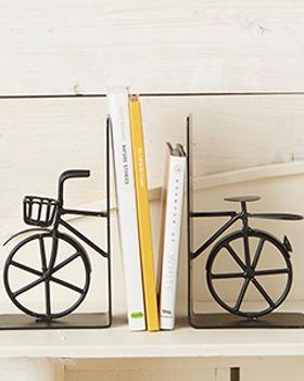 Serrv bicycle bookends. Fair trade decor. https://www.serrv.org/category/shelf-decor