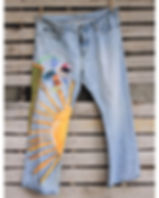 2nd Story Goods hippie jeans. Made in Haiti from upcycled clothes.