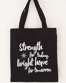 Imagine Goods Strength for today and bright hope for tomorrow tote. Give back to fight child trafficking. https://imaginegoods.com/collections/reimagine-totes
