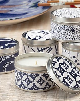 The Lemonade Boutique Blue and White Tin Candles. Refugee Made.