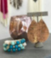 Designed for Joy cork earrings. Handmade in the USA. https://www.designedforjoy.com/collections/all
