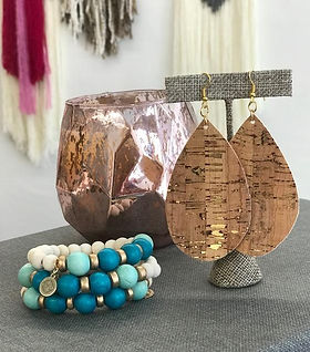 Designed for Joy cork earrings. Handmade in the USA. https://www.designedforjoy.com/collections/all