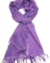 Beza Threads Purple and White Pinstripe Scarf. Ethically handmade and fights human trafficking. http://www.bezathreads.org/store/