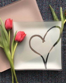 Give Back Good Recycled Etched Glass Heart Plates
