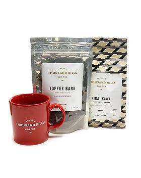 Land of a Thousand Hills Coffee, mug and toffee bark gift set.