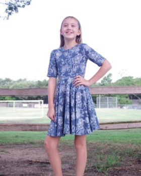 Vickery Trading Company Maroa Cambray Stencil Girl's Dress. Made in the USA by refugee women.