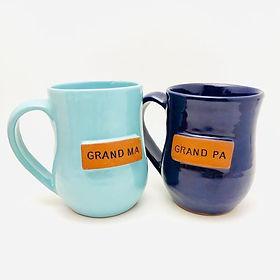 Papillon Grandma and Grandpa mugs. Handmade pottery.