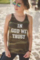 "Hope Outfitters ""In God We Trust"" camo tank top. Gives back 100% of profits to charity. https://www.hopeoutfitters.com/collections/women/Tanks"