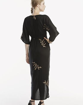 Atonement Design Cherry Blossom Kimono Maxi Wrap in Black and Gold. Ethically-Made Dresses.