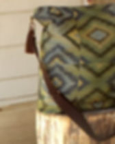 Persona Grata Blue Gold Journey Carpet Bag Purse. Mae in USA by refugee moms.