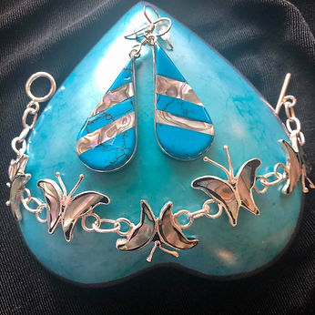 March Giveaway Abalone Butterfly Bracelet and Earrings from The Village Country Store