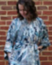 Berbeda Light Blue Silky Floral Kimono.