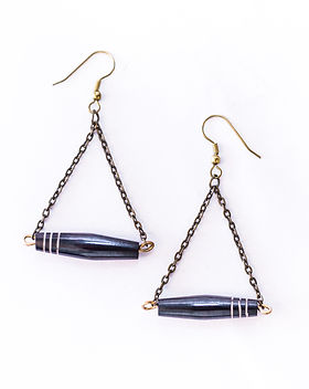 Grain of Rice Project Triangular Earrings. Handmade in Kenya. https://grain-of-rice.myshopify.com/collections/jewelry