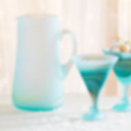 Ten Thousand Villages icy whirlpool pitcher. Glass hand blown in the West Bank. https://www.tenthousandvillages.com/tabletop