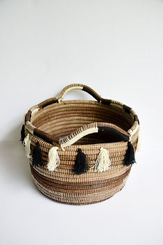 Solo Hope Tassel Magazine Handcrafted Basket