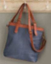 Serrv slated blue leather bag. Fair trade. https://www.serrv.org/category/handbags