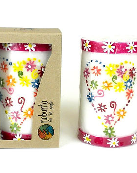 Fair Tribe Hand Painted Fair Trade Heart Candle.