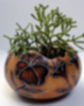 Partners for Just Trade flower planter. Fair trade and made from hand painted gourds. https://www.partnersforjusttrade.org/shop/home-garden-goods/garden-goods/