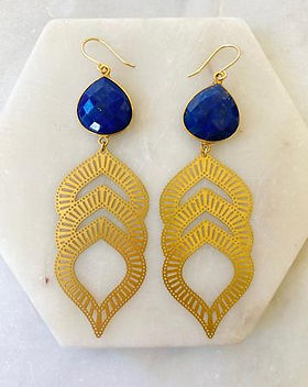 Atonement Design Lapis Leaf earrings. Supports the prevention of human trafficking.