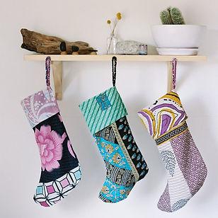 Sari Bari Christmas Stockings. Made in India from upcycled saris and bringing freedom to human trafficking survivors.