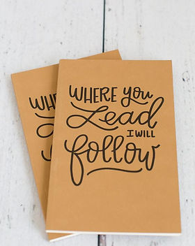 "Bought Beautifully travel journal. ""Where You Lead I Will Follow."" https://boughtbeautifully.org/collections/paperie"