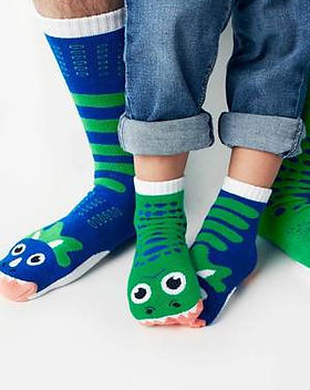 Simple Switch T-Rex & Triceretops Socks. Matching set for kid and parent.