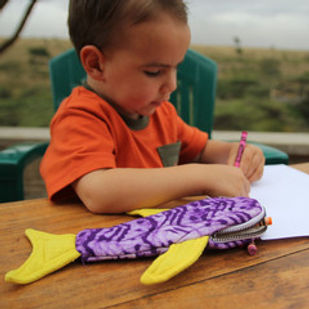 Amani ya Juu shark pencil case. Handmade and fair trade. https://amaniafrica.org/search?q=school