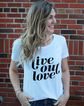 """Bought Beautifully women's t-shirt. """"Live Out Love."""" Ethically-made women's tops. https://boughtbeautifully.org/collections/clothing"""