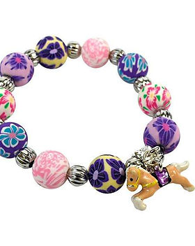 The Lemonade Boutique Purple & Pink Girl's Horse Bracelet. Made in USA.