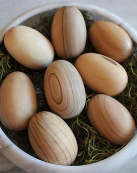 Bought Beautifully hand carved Easter eggs made from olivewood in Jordan. https://boughtbeautifully.org/collections/easter