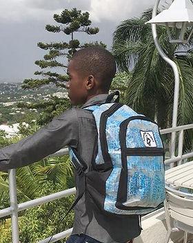 Market Haiti eco-friendly backpack, made in Haiti from recycled water bottles. https://markethaiti.com/