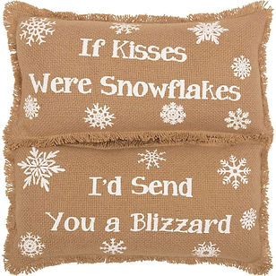 The Village Country Store Snowflake Pillow Set.