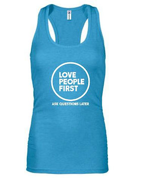 Papillon Racerback 'Love People First' tank top for women.