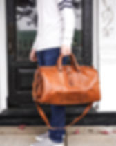 Jubilee Trading Moroccan Leather Duffle Bag. Handcrafted Travel Bags.