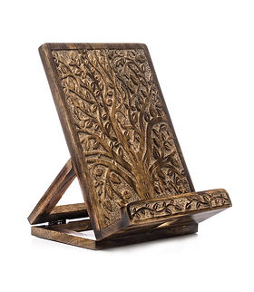 Village Country Store Carved Fair Trade Book Stand. https://www.thevillagecountrystore.com/collections/india?sort_by=price-descending
