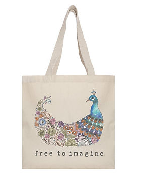 Tote Project Free to Imagine Peacock Tote. Gives back to fight human trafficking. https://www.thetoteproject.com/collections/tote-bags