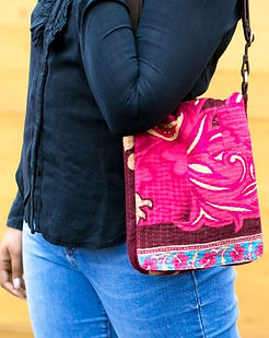 Sari Bari Meye Mini Messenger Bag. Made from upcycled saris. https://saribari.com/collections/mini-meye-messenger
