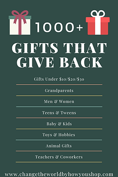 Find 1000+ Gifts that Give Back.  Fair trade, ethical, handmade, and made in USA gifs that give back to support refugees, orphans, adoptions and fight poverty and human trafficking.