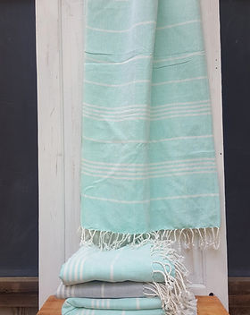 Education and More vintage aqua turkish fouta beach or bath towels. Fair trade.