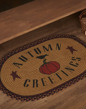 The Village Country Store Autumn Greetings Floor Mat with Pumpkin.