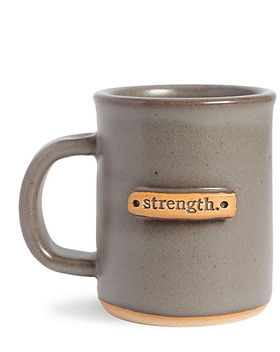 MudLOVE Strength mug. Made in USA and gives back to provide clean drinking water.