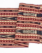 Mayan Hands red, white and blue table runner. Handwoven by artisans in Guatemala.