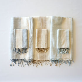 Karama Collection Savannah towels. Handwoven with subtle stripes in Ethopia.