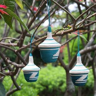 Azizi Life basket ornaments. Fair trade and handmade in Rwanda.